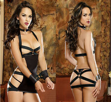 Stunning Rubber Backless Mini Dress with Cuffs and G-String FREE POSTAGE