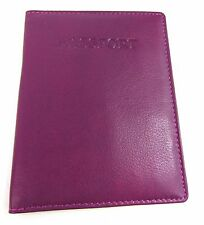Soft Real Leather Passport Cover Holder Travel Protector Wallet Documents Folder Fuchsia
