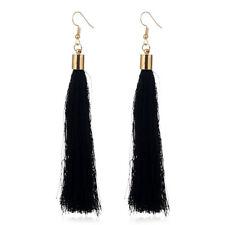 Fashion Women'S Bohemian Black Long Tassel Hook Earrings Jewelry Birthday Gift