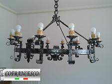 lampadario tondo a 12 luci forgiato e martellato