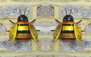 x2 Large. Metal Bumble Bee Summer Garden Decoration Ornament Wall Art