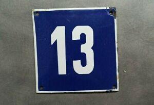 Vintage Enamel Sign Number 13 Blue House Door Street Plate Metal Porcelain Tin