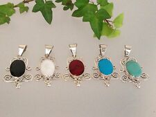 Colourful Mexican Sterling Silver & Stone Pendants Turquoise Coral Pearl .925