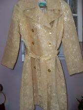 Beth Bowley Gold Metallic Double Breasted 3/4 Sleeve Trench Coat 2