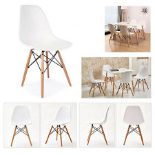 4 Dining Chairs Wooden Eiffel Retro Lounge Plastic White Chairs Home Office Shop