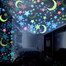 100PC Kids Bedroom Fluorescent Glow In The Dark Stars Moons Wall Stickers Nice