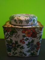 Vintage The Tin Box Co Of America w/Lid 1987 Flowers and Trees Made in Hong Kong