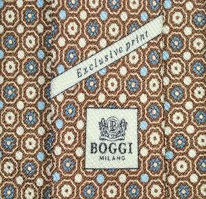 BOGGI MILANO EXCLUSIV PRINT Tie 45% Silk 55% Linen Brown/Blue Color L63 W3.3