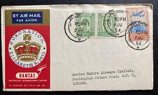 1953 Colombo Ceylon Coronation FDC cover QE 2 Queen Elizabeth II Qantas Flight