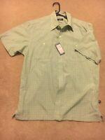 IZOD Men's Button Up Shirt Short Sleeve Size Medium Green Checkered-NEW W/Tags!!