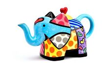 ROMERO BRITTO LARGE TEAPOT: ELEPHANT DESIGN ** NEW ** GIFT BOXED
