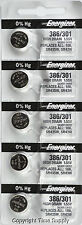 5PC Energizer 386 / 301 Silver Oxide SR43SW SR43W SR43 0% Hg