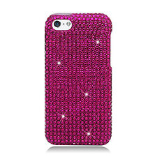 For Apple iPhone 5C Crystal BLING Hard Case Phone Cover Hot Pink
