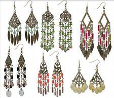 Boho Chandelier Earrings Steampunk Antiqued Brass Lot of 6 pairs