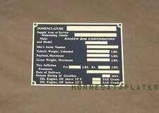 KAISER Jeep CORPORATION 1963-68 DATA PLATE STATION WAGON PICKUP CJ3B ID TAG