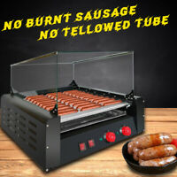 1650W Commercial 11Roller 30Hot Dog Grill Cooker Warmer&Cover Hotdog Machine .