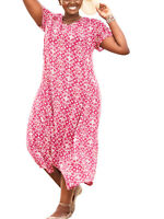 Woman Within Raspberry Floral Dress Size UK 20/22 Short Sleeved New