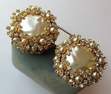 SPECTACULAR VINTAGE MIRIAM HASKELL SIGNED BAROQUE PEARL & RHINESTONE EARRINGS