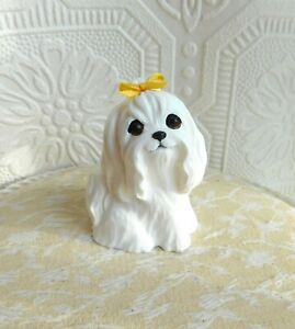 Maltese with Yellow bow hand made Resin Collectible FureverClay