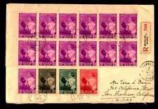 Belgium 1937 Large Blocks Airmail Cover Registered to USA - B55