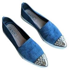 MIU MIU Size EU 41 Blue Jeweled Cap-Toe Denim Skate Shoes Platform Pointed Toe