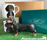 Dachshund Sausage Dog lover Gift Set with China Mug & Figurine ornament gold box