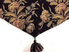 VGU WAVERLY Ascot VALANCE Floral on Black  BOTANICAL 60 x 22 in.