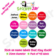 48 Personalised Stick on Shoe Name Labels Stickers School Kids Waterproof Nl05