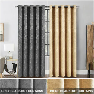 Thick Thermal Blackout Curtains Eyelet Ring Top Ready Made Pair Curtains Panel