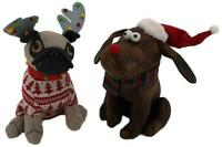 Animal Xmas Doorstops - Pug Dog with Antlers / Dog with Santa Hat - Christmas