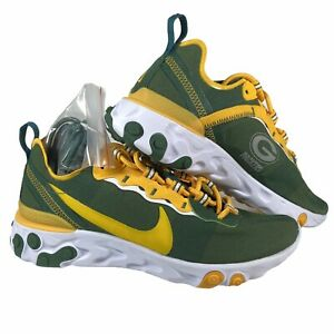 Nike React Element 55 NFL Green Bay Packers Shoes Yellow CK4882-300 Mens Size 5