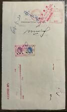 Hong Kong Queen Eliz revenue stamps on bank doc with Singapore meter