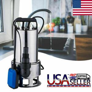 Sewage Pump 1.5HP Industrial Submersible Sewage Cutter Grinder Max 4300GPH USA