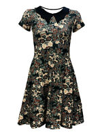 Vintage Gothic Floral Sugar Skulls Roses Print Rockabilly Collar Dress Halloween