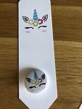 Personalised Unicorn Bookmark Unicorn Badge Birthday Gift Party Bag Filler 🦄💕