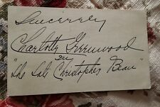 CHARLOTTE GREENWOOD - INSCRIBED INDEX CARD SIGNED ACTRESS