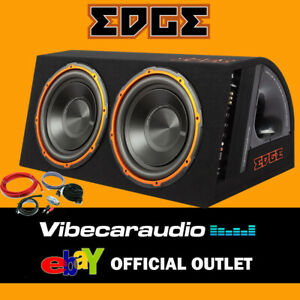"""Edge Twin 12"""" Active Car Subwoofer Enclosure 1800W Max Power In Wiring Kit"""