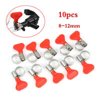 10pcs Butterfly Hose Clamp Stainless Adjustable Clips For 8-12mm OD Tubing Pipe