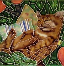 "Sleeping Cat Art Tile 4""x4"" Hammock Decorative Ceramic New Backsplash SD-071"
