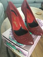 Irregular choice 6.5 Red Leather Wedge