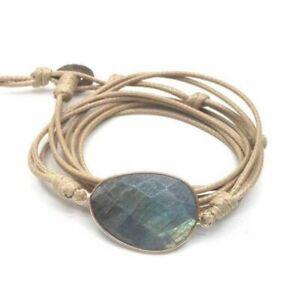 Beige Leather Friendship Bracelet & Labradorite Stone Wrap Bangle Wristband Rope