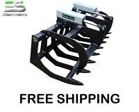 """ES 72"""" HD GRAPPLE BUCKET NEW SKID STEER QUICK ATTACH BRUSH GRAPPLE FREE SHIPPING"""
