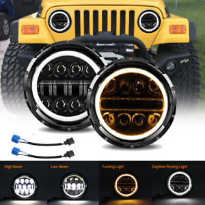 2X 7Inch Round  LED Halo Headlights Hi/Lo For JEEP JK TJ LJ Wrangler 97-18