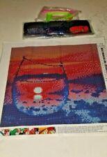"Diamond Art Kit Diy Full Drill Round 30X30 Cm "" Blue & Read Beach In A Glass """