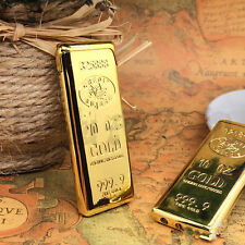 1PC Golden Gold Bullion Cigarette Lighter Flame Refillable Windproof Butane Gas