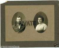 """Antique Double Matted Photo - Man & Lady """"Harry & Agnes"""", 1913 To Anna Wills"""