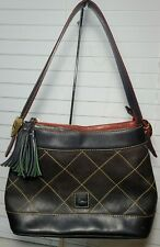 Dooney & Bourke Navy Blue Diamond Quilted Florentine Leather Hobo Gold Hearts