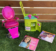 American Girl Doll Hairstylist Set Chair, Caddy, Accessories, Smock And Books