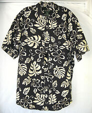 David Taylor Collection Hawaiian Black Beige Floral Mens Cotton Shirt Size XL