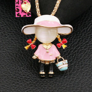 Betsey Johnson Cute Little Girl Carry Basket Pendant Chain Necklace/Brooch Pin
